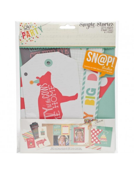 """Simple Stories Let's Party Sn@P! Journal Pages 6""""X8"""" 9"""