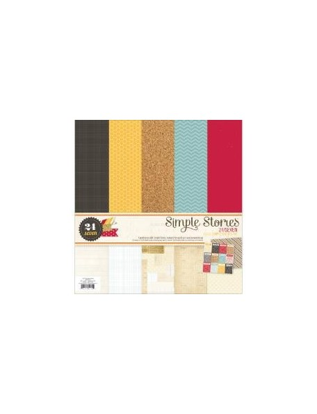 """Simple Stories 24/7 Simple Basics Paper Kit 12""""X12"""" 5 Double-Sided Sheets + 1 Bingo Card"""