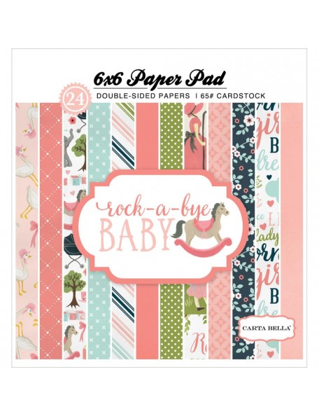 "Carta Bella - Rock A Bye Baby Girl - Bloc 6""x6"" doble cara"