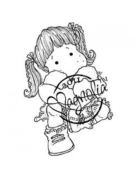 "Magnolia - Tilda W/Cozy Heart - Sweet Crazy Love Cling Stamp 6.5""X3.5"""
