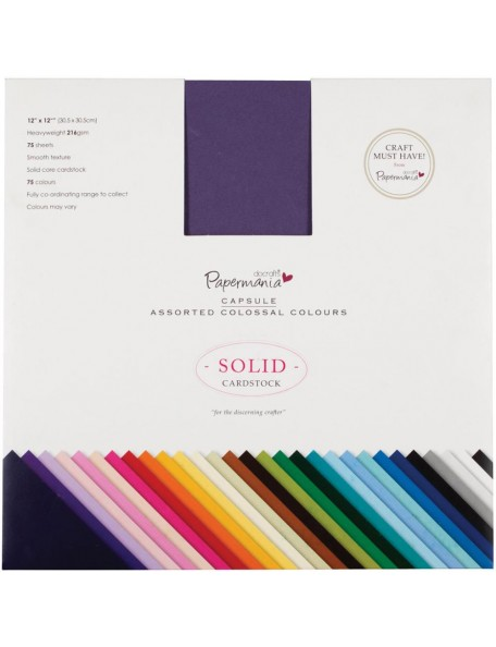 "Papermania Premium Smooth Solid Cardstock Pack 12""X12"" 75"
