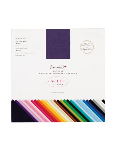 "Papermania Premium Smooth Solid Cardstock Pack 8""X8"" 75"