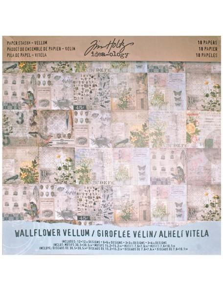"""Tim Holtz - Wallflower Idea Ology Vellum Paper 12""""x12"""""""
