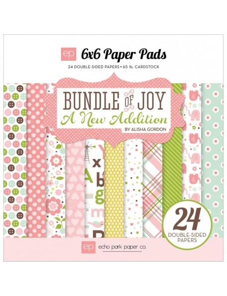 "Echo Park - Bundle Of Joy/A New Addition Baby Girl Paper Pad 6""x6"""