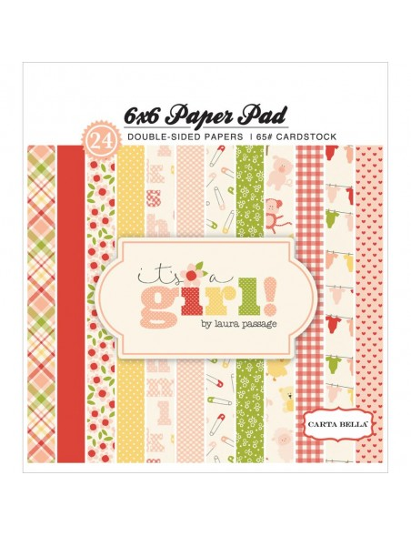 "Carta Bella It´s a Girl Cardstock de doble cara 6""x6"" 24 hojas (cada dibujo 2/12)"