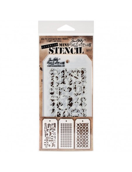 Tim Holtz Mini Layered Stencil 3 unid. Set 7