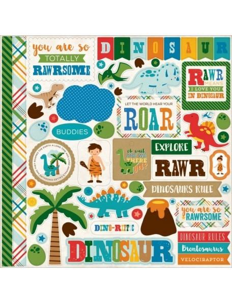 "Echo Park Dino Friends Element Stickers 12x12"""