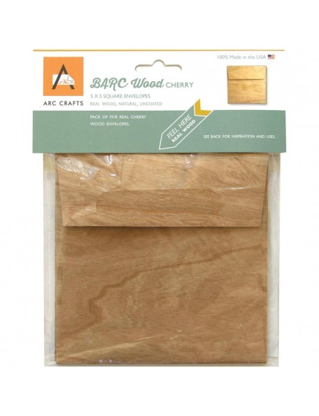 "Arc Crafts - Cherry Wood Sobres - Barc Wood Veneer 5""x5"""