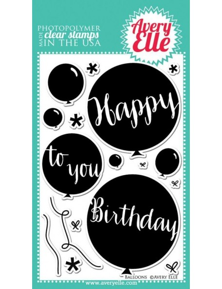 "Avery Elle sello globos/Balloons Clear Stamp Set 4""X6"""