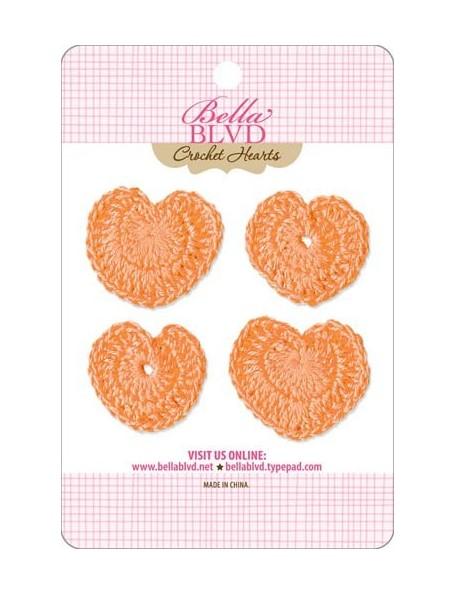 Bella BLVD Orange Corazones Adornos de Ganchillo