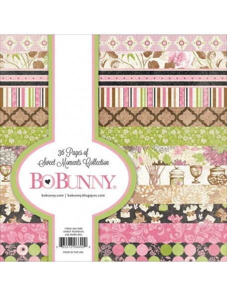 "Bobunny Single-Sided Paper Pad 6""X6"" 36 Sweet Moments, 12 Designs/3 Each"