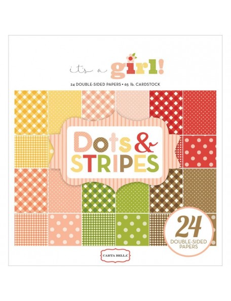 "Carta Bella - It´s a Girl Dots & Stripes Double-Sided Paper Pad 6""X6"" 24 (cada hoja 2/12)"