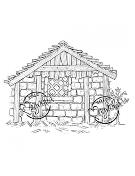 "Magnolia Nativity Cling Stamp 4""X6.5"" Package-Holy House"