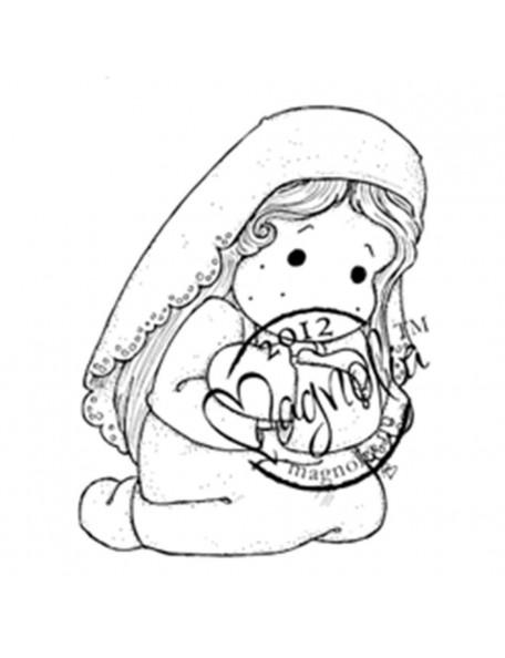 "Magnolia Nativity Cling Stamp 2.75""X5.75"", Loving Holy Tilda"