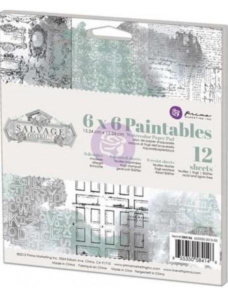 "Prima Marketing - Salvage District Paintables Watercolor Paper Pad 6""X6"""