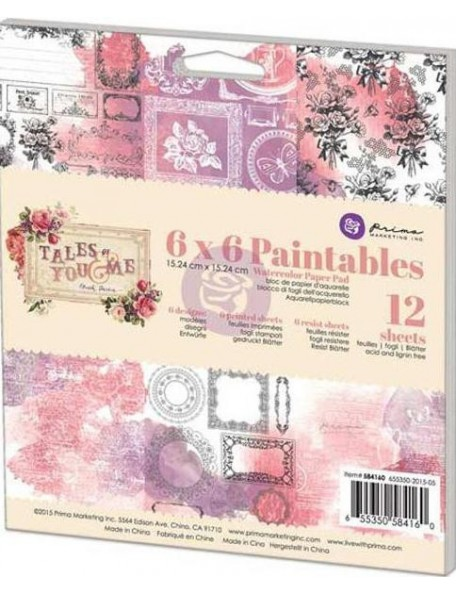 "Prima Marketing Paintables Watercolor Paper Pad6""X6"" 12, tales Of You & Me"