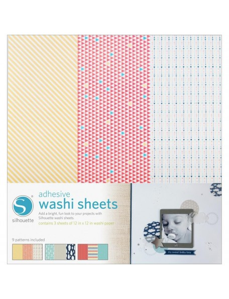 "Silhouette Adhesive Back Washi Paper 12""X12"" 3"
