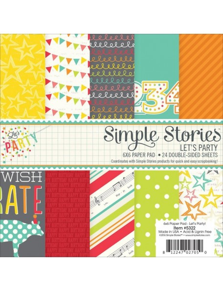 "Simple Stories Double-Sided Paper Pad 6""X6"" 24, Let's Party, 12 Designs/2 Each"