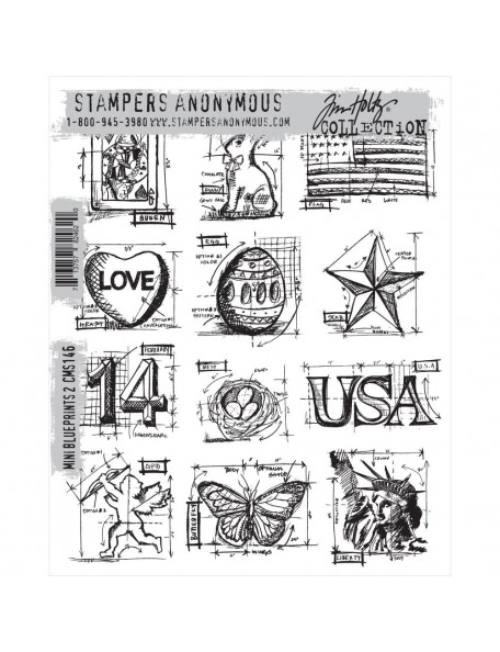 "Tim Holtz Stamper Anonymous Mini Blueprints Cling Stamps 7""X8.5"""