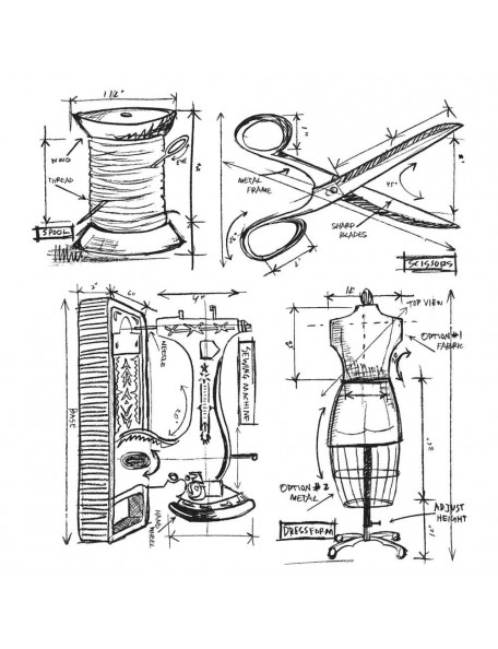 """Tim Holtz Stamper Anonymous Sewing Blueprint 7""""X8.5"""""""