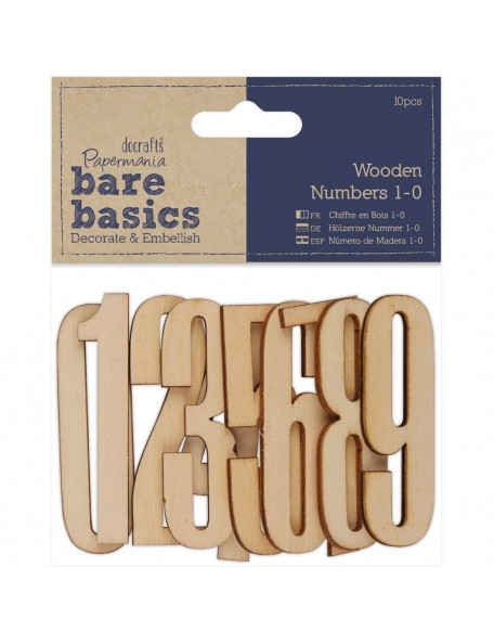 Papermania Bare Basics Wooden Numbers 10/Pkg