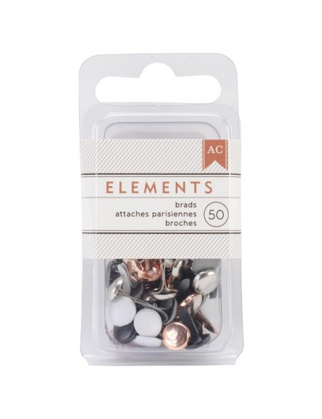 "American Crafts - Metalic Elements Brads .1875"" 50 pcs"
