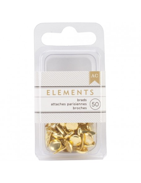 "American Crafts - Oro Elements Brads .1875"" 50 pcs"