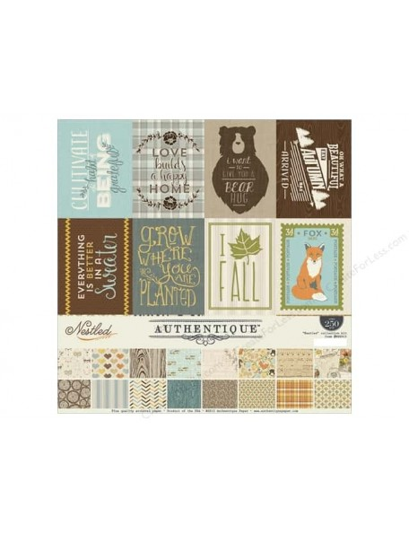 "Authentique Double-Sided Cardstock Pad 12""X12"" 24/Pkg Nestled, 8 Designs/3 Each"