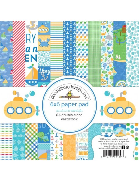 "Doodlebug Double-Sided Paper Pad 6""X6"" 24, Anchors Aweigh, 12 Designs/2 Each"