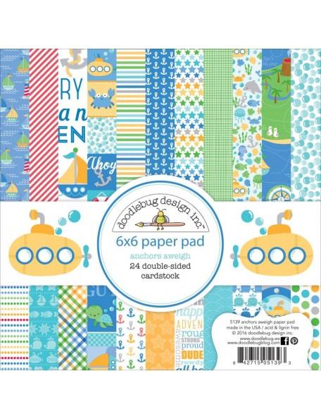 """Doodlebug Paper Pad cardstock de doble cara 6""""X6"""" 24, Anchors Aweigh, 12 diseños/2 de cada"""