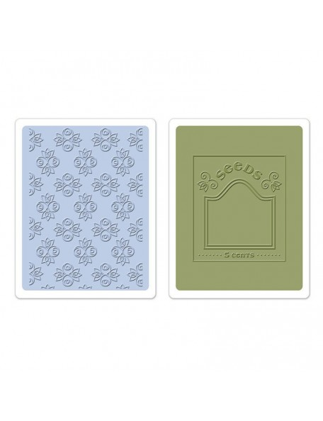 Sizzix Textured Impressions A2 Embossing Folders 2 Rosebuds & Seed Packet