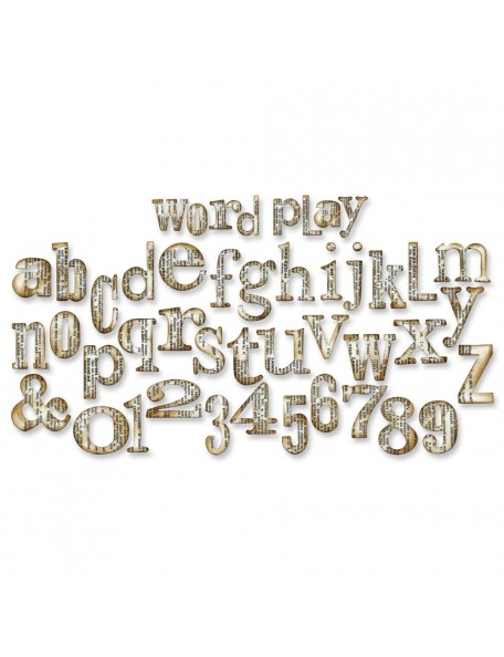"Tim Holtz Sizzix Bigz Xl Die 6""X13.75"" Word Play Alphabet 1"" To 2"""