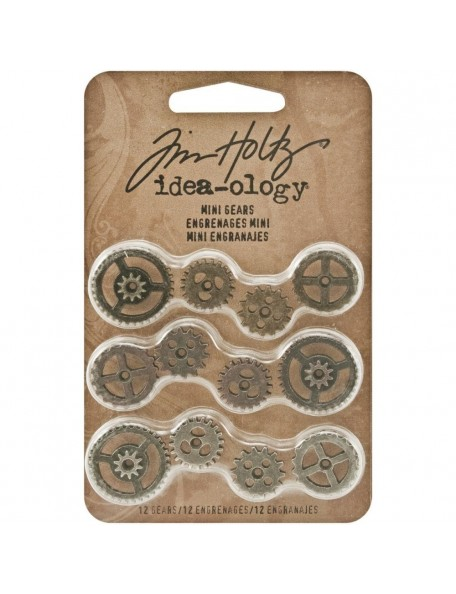 "Tim Holtz Idea-Ology Metal Mini Gears .5"" To .75"" 12"