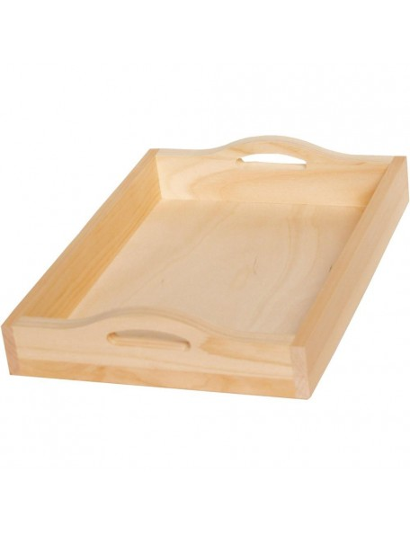 "Walnut Hollow Pine Rectangle Serving Tray W/Handles 15""X11""X2.88"""