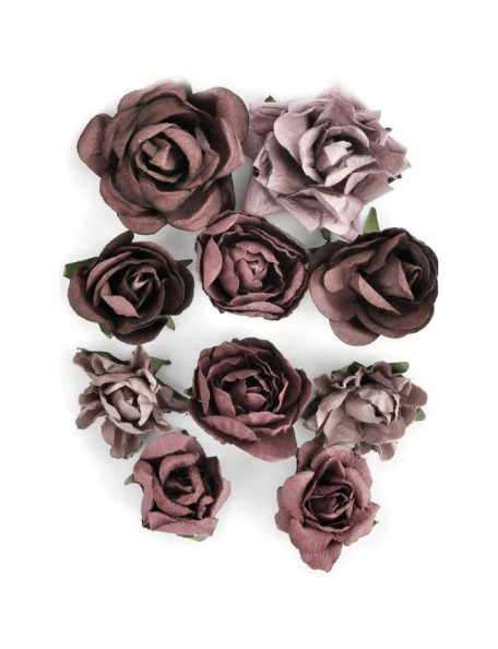 "Kaisercraft Aubergine Blooms 1"" - 1.5"" 10"