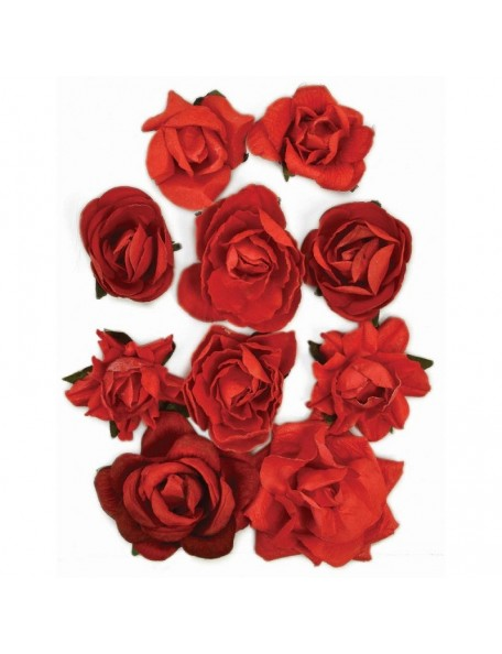 "Kaisercraft Fire Red Blooms 1"" - 1.5"" 10"