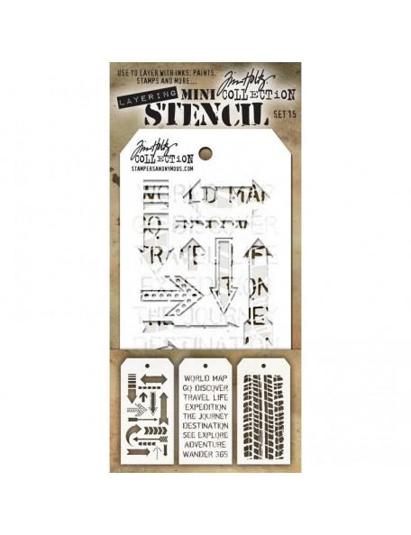 Tim Holtz Mini Layered Stencil Set 3 - Set 8