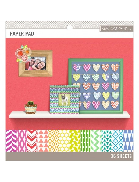 """K&Company Basics de una cara 8.5""""X8.5"""" Paper Pad 36, Brights, 12 diseños/3 de cada"""