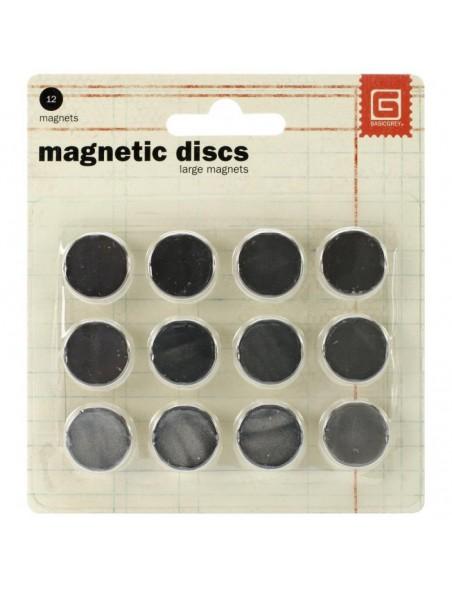 "Basic Grey 12 Magnetic Discs .625"""