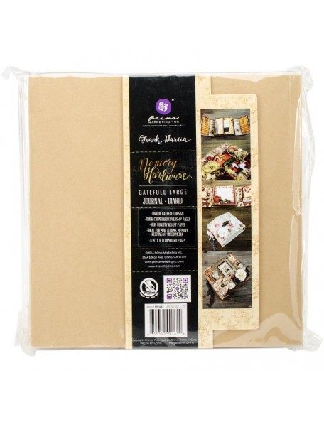 "Prima Memory Hardware Chipboard Album 8.5""X8"", Kraft Gatefold W/8 Pages"