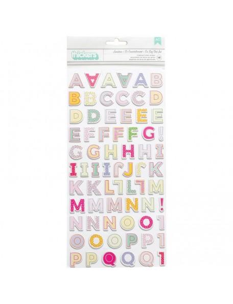 "American Crafts - Abecedario Sunshine Tickers Stickers 5,5""x11"""