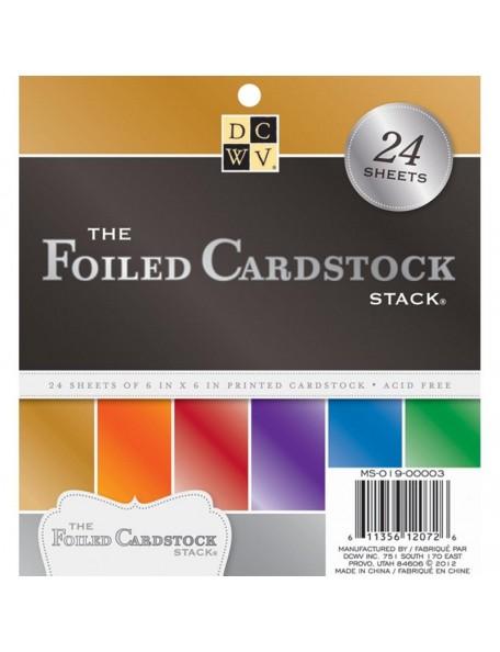 """DCWV Specialty Stack Hoja de una cara 6""""x6"""" 24, 6 Colores/4, The Foiled"""