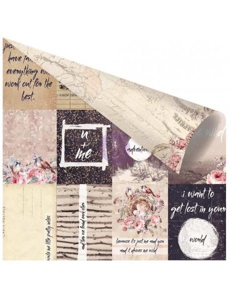 "Prima Marketing Wild & Free Foiled Cardstock de doble cara 12""X12"", Pretty Little Notes"