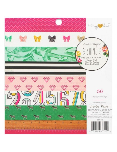 """Crate Paper Paper Pad Hojas de una cara 6""""X6"""" 36 Maggie Holmes Shine, 18 Diseños2 de cada"""