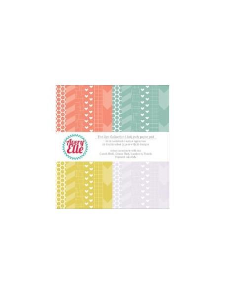 "Avery Elle cardstock de doble cara Paper Pad 6""X6"" 24 hojas, Zen 12 dibujos/2 de cada"