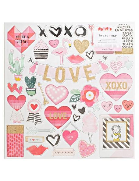 """Crate Paper - Heart Day Chipboard Adhesivo 12""""x12"""" contiene Glitter Dorado"""