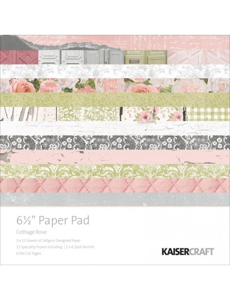 "Kaisercraft Paper Pad single side 6.5""X6.5"" 40, Cottage Rose"