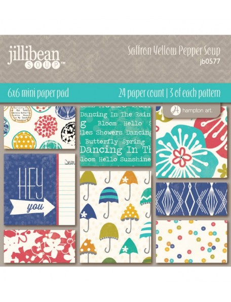 "Jillibean Soup Saffron Yellow Pepper Soup Paper Pad 6""x6"""