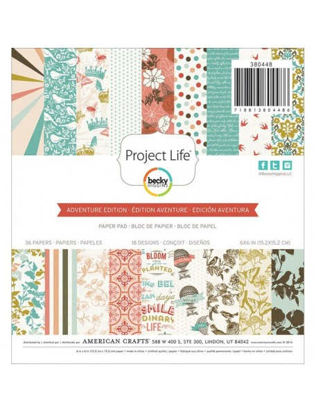 "American Crafts - Adventure Edition Project Life Hojas de una cara 2Paper Pad 6""X6"" 36"