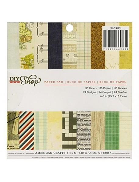 """American Crafts - DIY Shop Paper Pad 6""""X6"""" 36 Hojas de una cara"""
